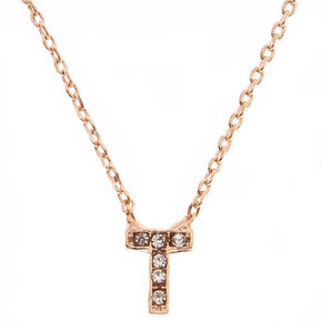 Rose Gold Embellished Initial Pendant Necklace - T,