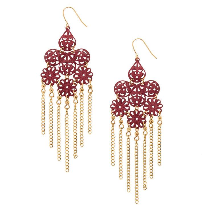 Wine Filigree Chandelier with Gold Chain Fringe Drop Earrings,