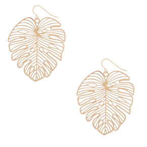 "Gold 1.5"" Palm Leaf Drop Earrings,"