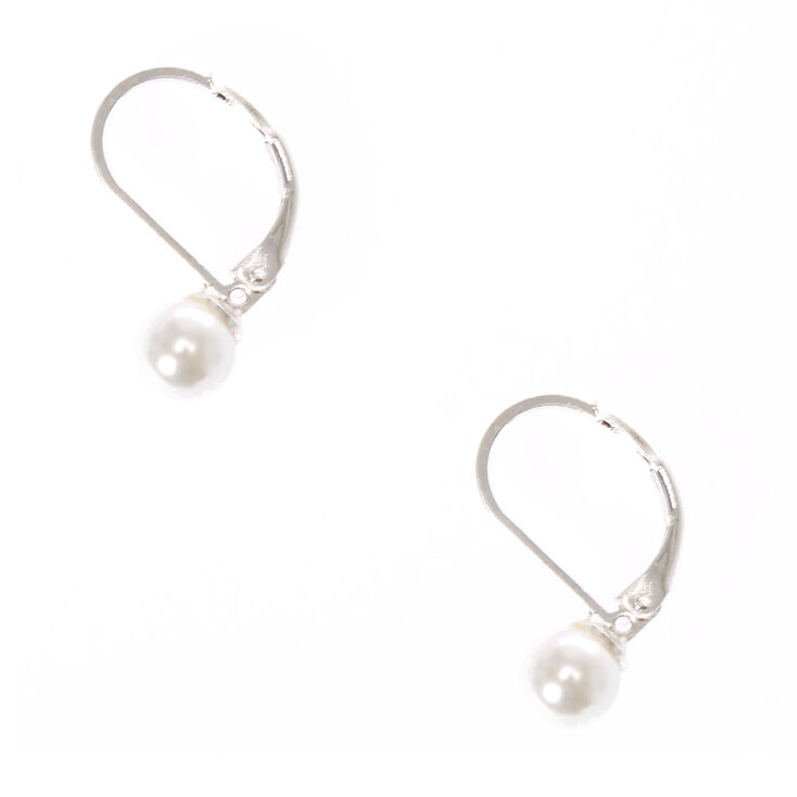 Faux Pearl Mini Hoop Earrings,