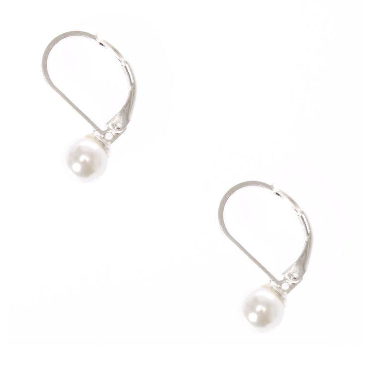 Faux Pearl Mini Hoop Earrings,