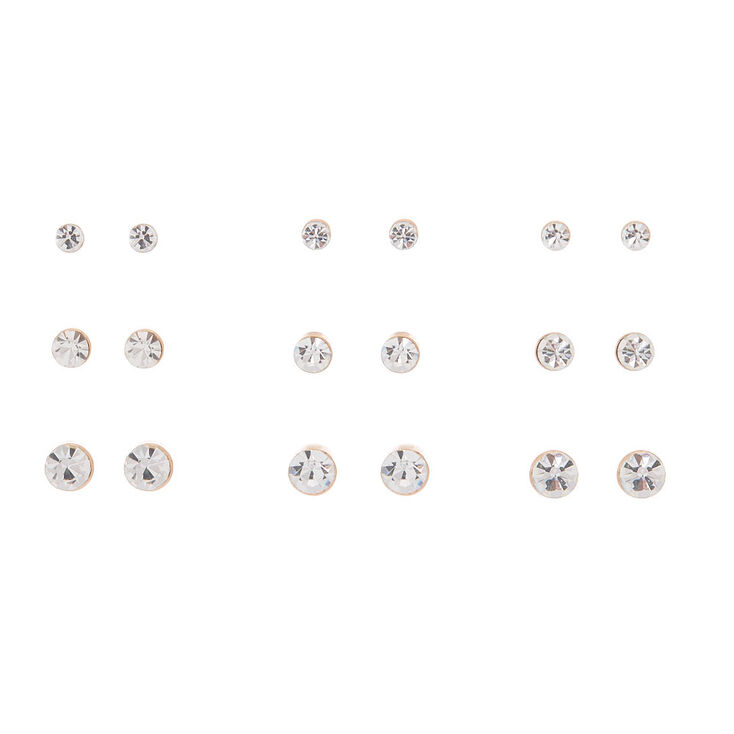 Rose Gold Crystal Graduated Stud Earrings - 9 Pack,