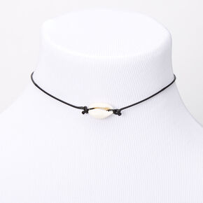 Single Cowrie Shell Choker Necklace - Black,
