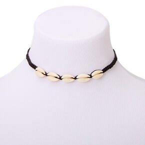 Cowrie Shell Woven Choker Necklace - Black,