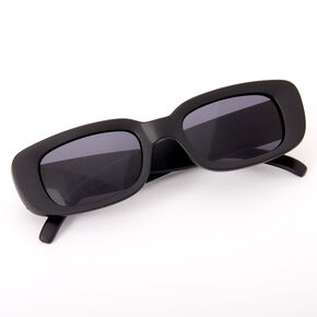 Slim Rectangle Sunglasses - Black,