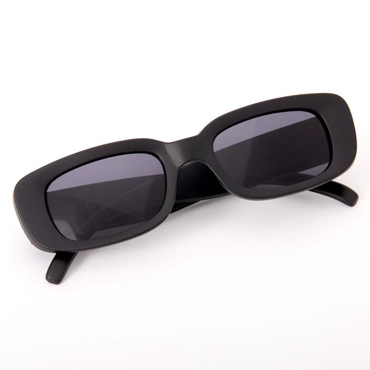 Slim Rectangle Sunglasses - Black,