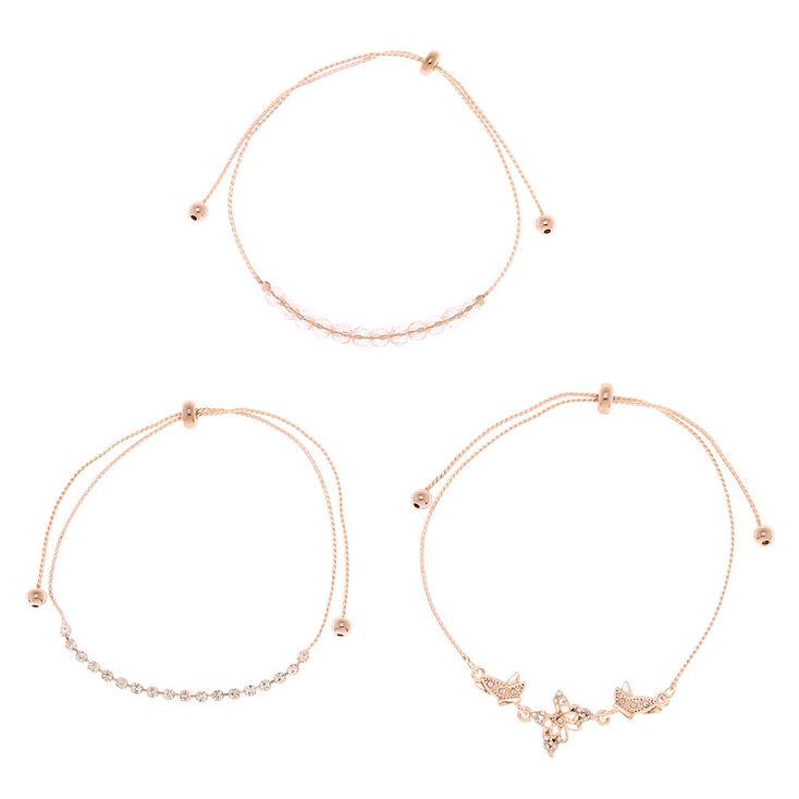 Rose Gold Rhinestone Butterfly Adjustable Bracelets - 3 Pack,