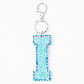 Blue Varsity Initial Keychain - I,