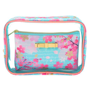 Floral 2-in-1 Makeup Bags - Turquoise, 2 Pack,