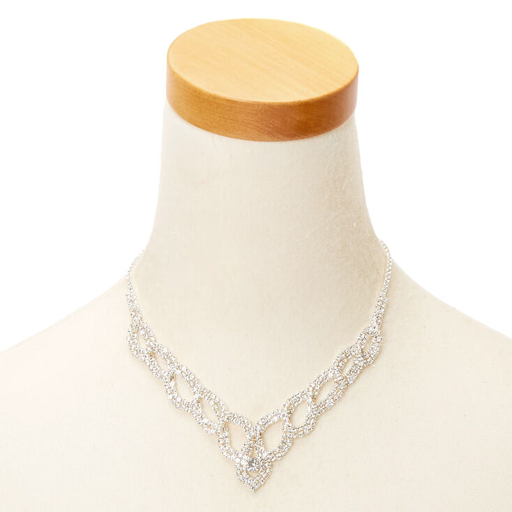 Silver Rhinestone Woven Twist Jewelry Set - 2 Pack,