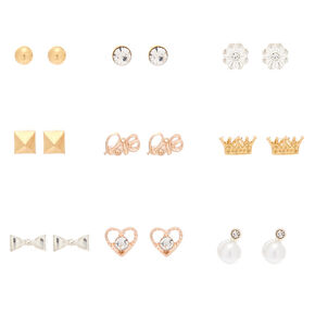Mixed Metal Chic Stud Earrings - 9 Pack,