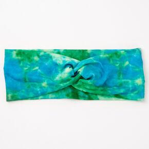 Tie Dye Twisted Headwrap - Blue/Green,