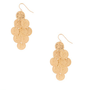 "Gold 2"" Coin Drop Earrings,"