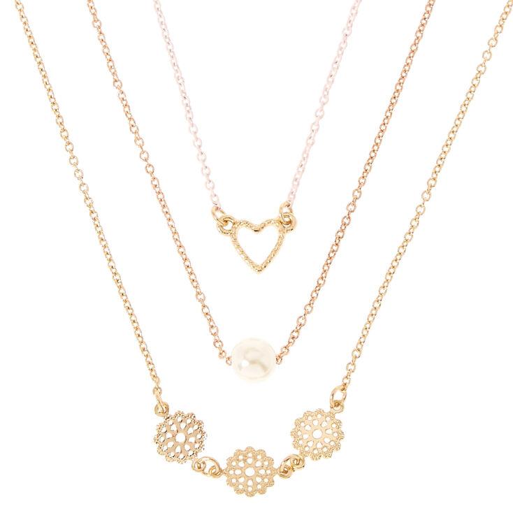 Gold-Tone Triple Layer Heart, Pearl & Filigree Necklace,