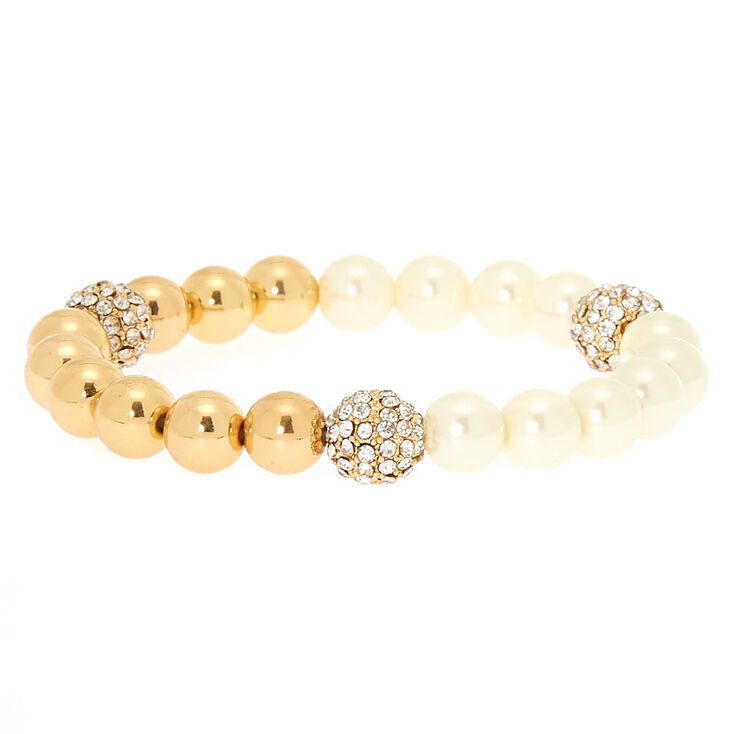 Gold Pearl Stretch Bracelet,