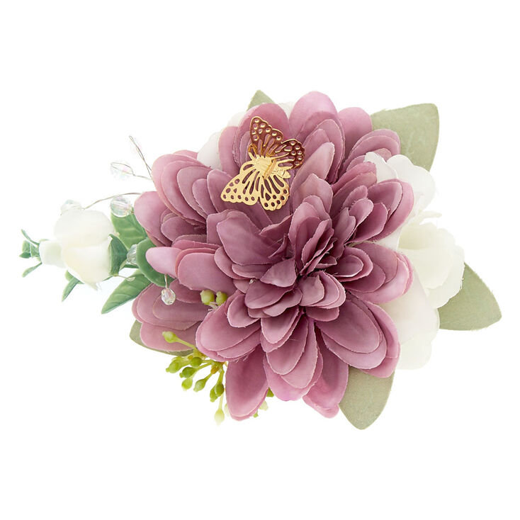 Butterfly Bridal Flower Clip - Lilac,