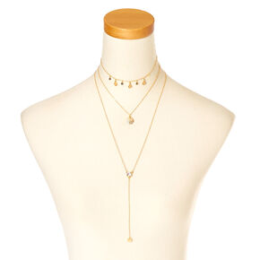 Gold Multi-Layered Stone Choker,