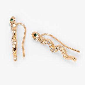"""Gold 1"""" Embellished Snake Ear Crawler Earrings,"""