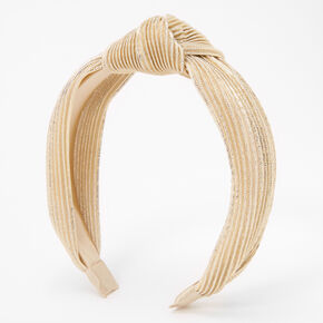 Pleated Knotted Headband - Gold,