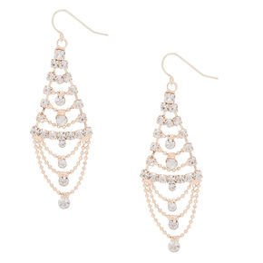 "Rose Gold Glass Rhinestone 2"" Chandelier Drop Earrings,"