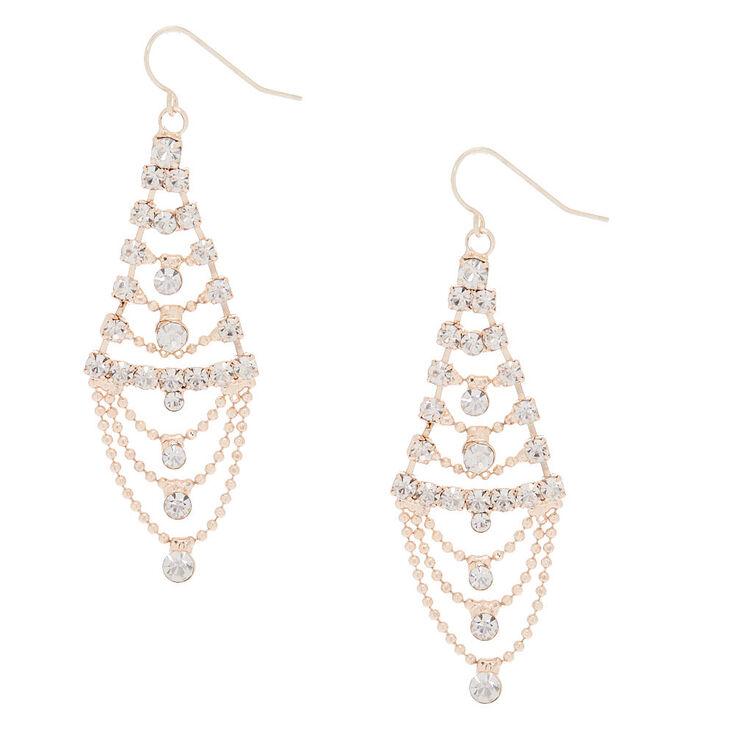 """Rose Gold Glass Rhinestone 2"""" Chandelier Drop Earrings,"""