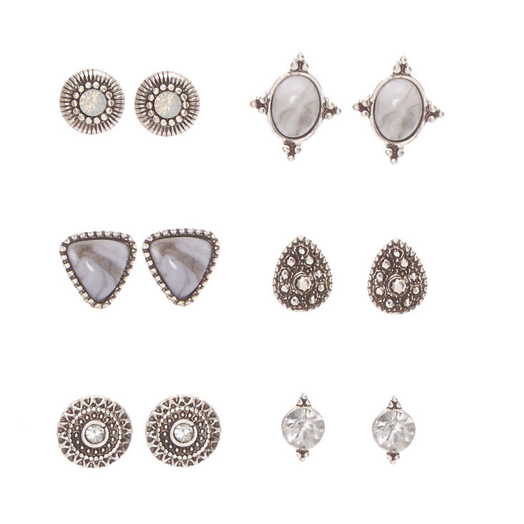 Antique Silver Tone Geometric Marbled Stone Stud Earrings,