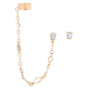 Gold Tear Drop Crystal Ear Connector Earrings,