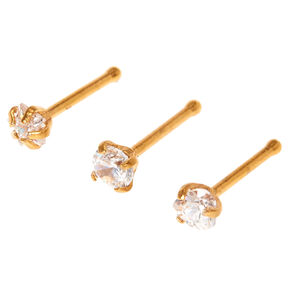 Cubic Zirconia Gold Nose Studs,