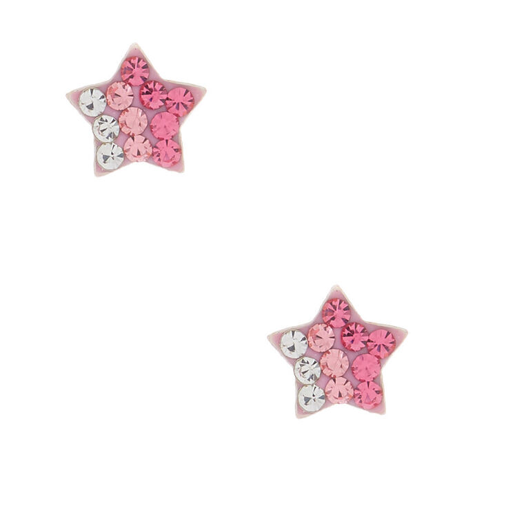 Sterling Silver Ombre Star Stud Earrings - Pink,