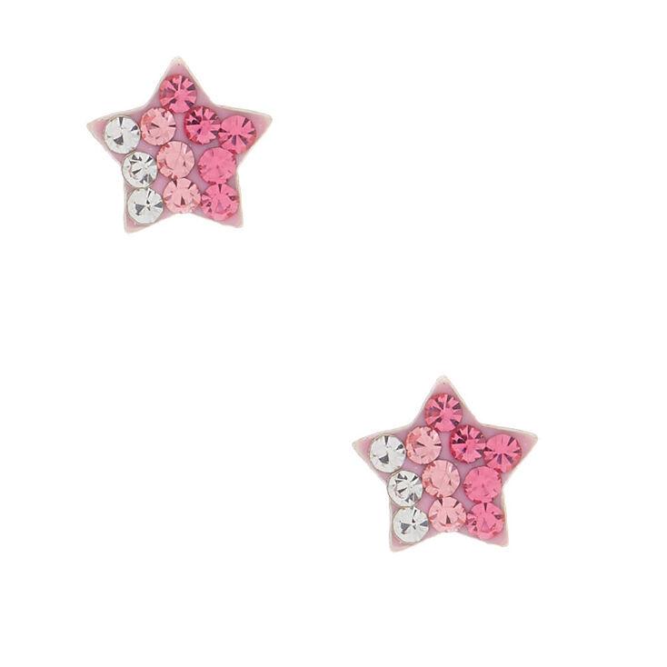 Sterling Silver Ombre Star Stud Earrings - Pink,