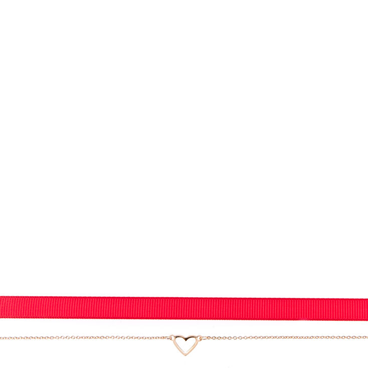 2 Pack Pink & Silver-Tone Heart Choker Necklaces,