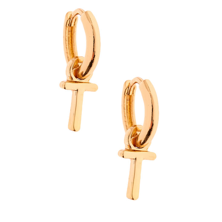 Gold 10MM Initial Huggie Hoop Earrings - T,