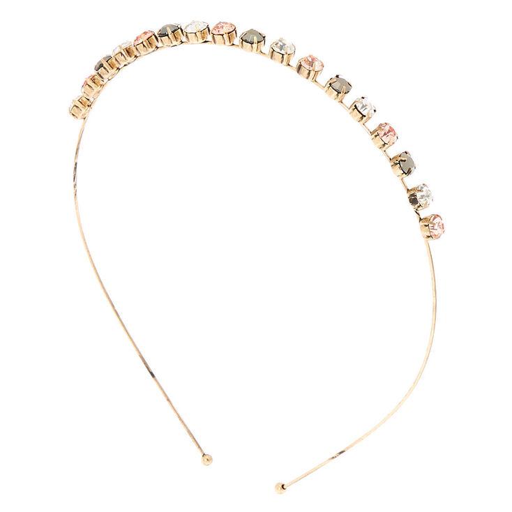 Antique Gold Embellished Headband - Pink,