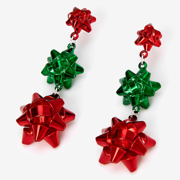 """Silver 2"""" Red & Green Holiday Bow Drop Earrings,"""
