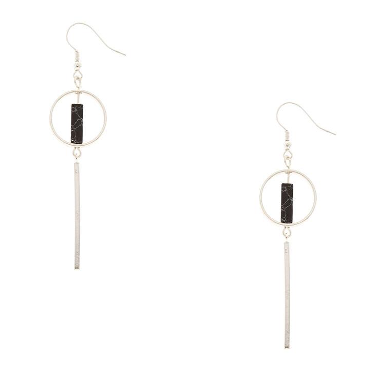 Geometric Silver Tone & Black Marbled Stone Drop Earrings,