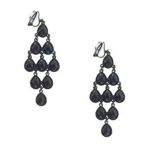 Jet Black Gem Chandelier Clip On Earrings,