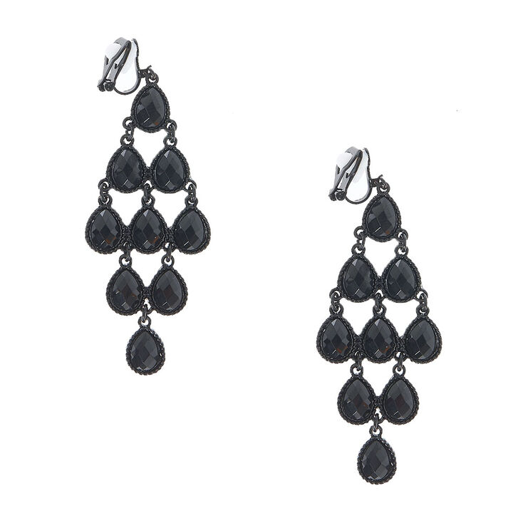 Jet Black Gem Chandelier Clip On Earrings,