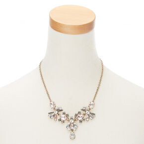 Antique Embellished Statement Necklace - Pink,