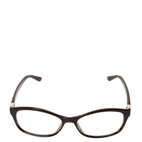Black Rectangle & Ribbed Silver Hinge Eyewear,