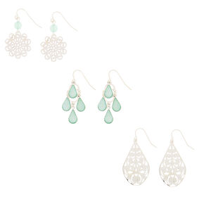 3 Pack Holographic Mint Drop Earrings,