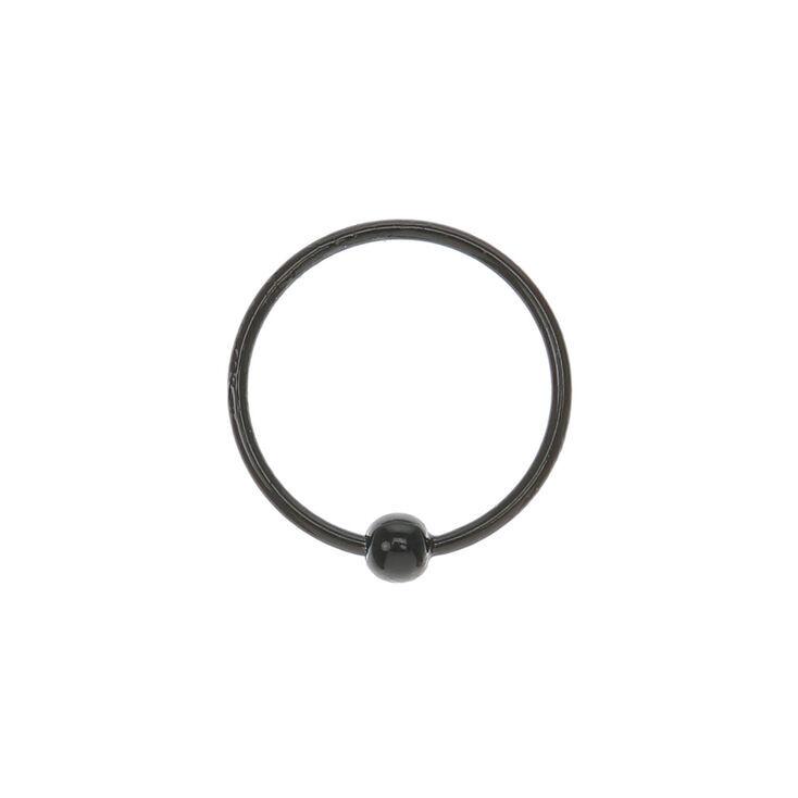 Sterling Silver Beaded Hoop Nose Ring - Black,