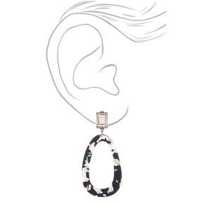 "3"" Black & White Resin Mod Drop Earrings,"