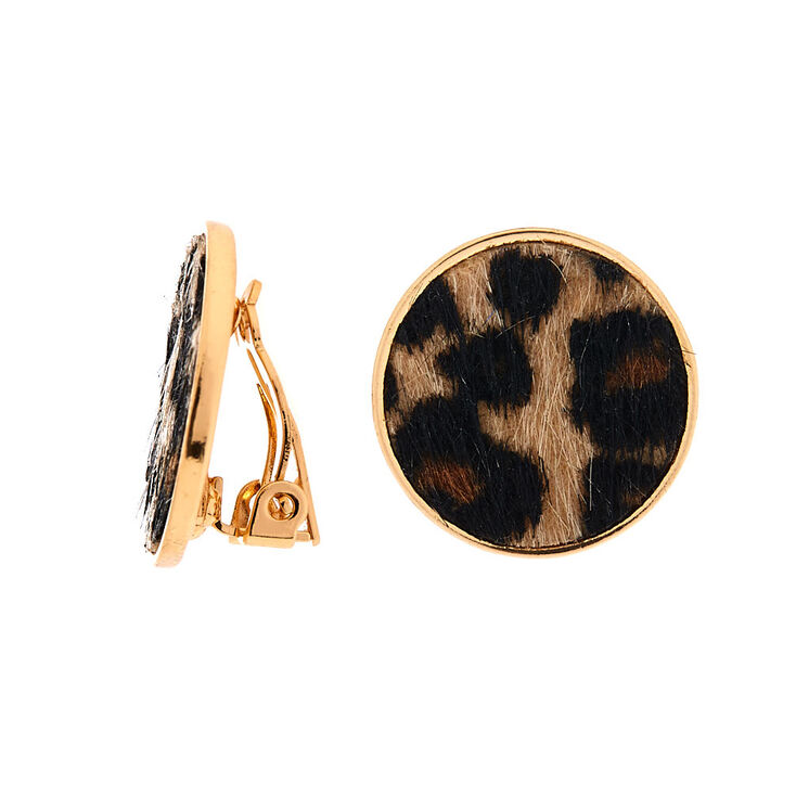 Gold Leopard Round Clip On Stud Earrings,