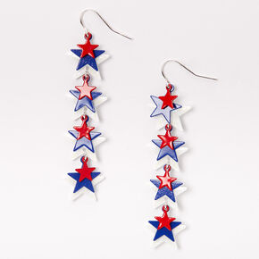 "Red White & Blue Stars 2.5"" Linear Drop Earrings,"