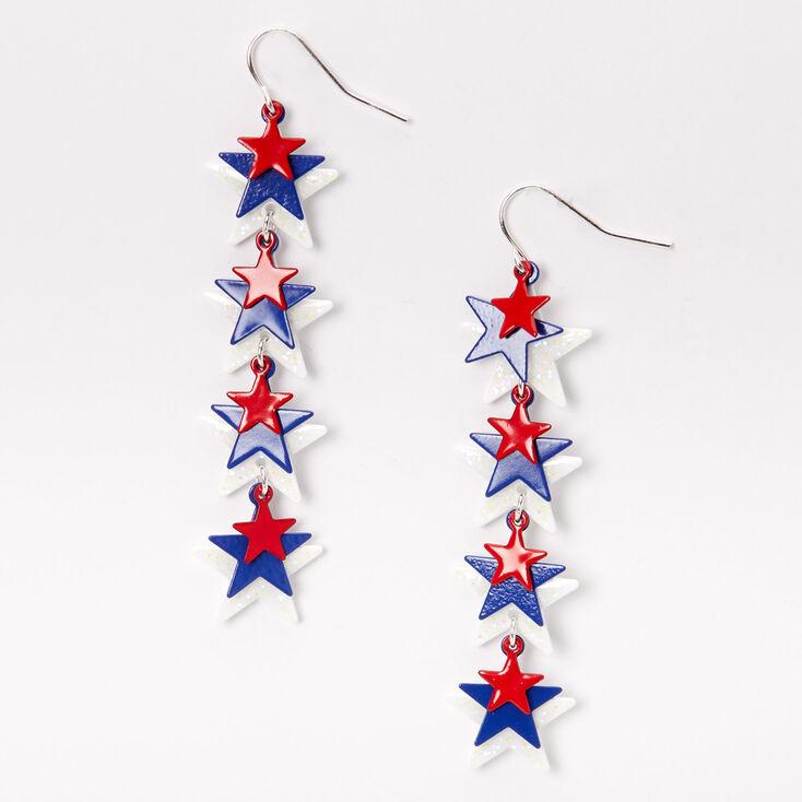"""Red White & Blue Stars 2.5"""" Linear Drop Earrings,"""