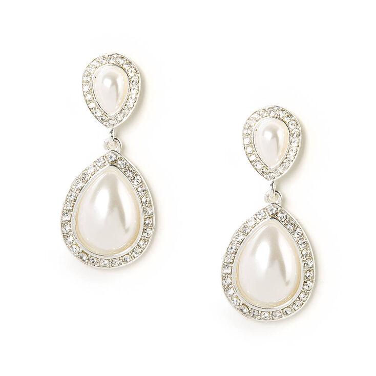 """1"""" Pearl Teardrop Drop Earrings,"""