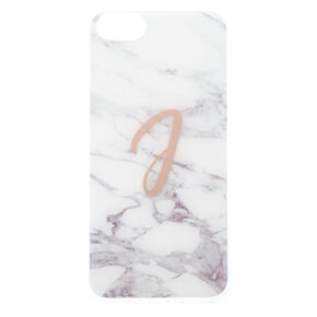 "White Marbled ""J"" Initial Phone Case - Fits iPhone 6/7/8 Plus,"