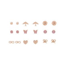 Rose Gold Charm Stud Earrings - 9 Pack,