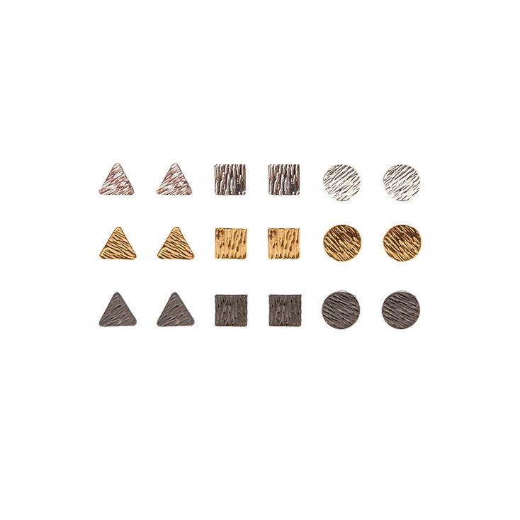 Mixed Metal Textured Geometric Stud Earrings - 9 Pack,