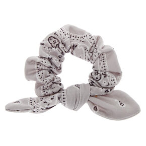 Bandana Knotted Bow Hair Scrunchie - Light Gray,